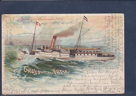 Litho AK Gruss von der Freia An Bord des Salon Schnelldampfer Freia 1897