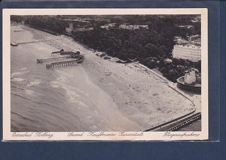 AK Ostseebad Kolberg Strand Kauffmanns Kuranstalt Fliegeraufnahme 1930