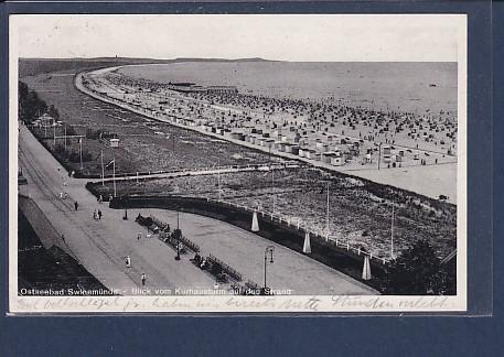 AK Ostseebad Swinemünde Blick vom Kurhausturm auf den Strand 1936