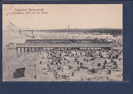 AK Ostseebad Swinemünde Strandleben Blick von der Brücke 1912