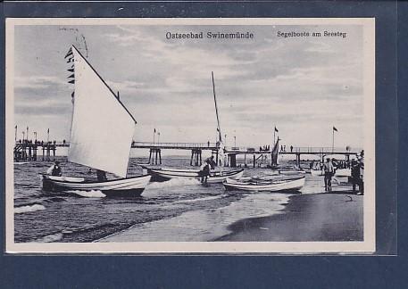 AK Ostseebad Swinemünde Segelboote am Seesteg 1930