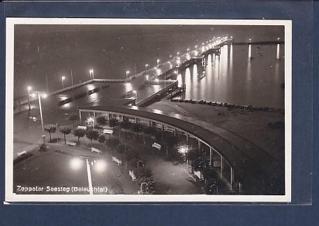 Photo AK Zoppoter Seesteg ( Beleuchtet) 1930