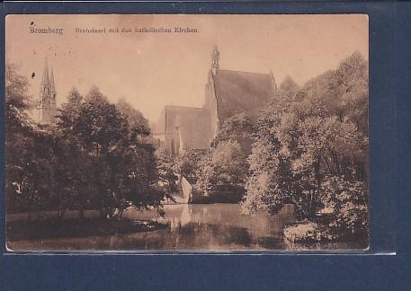 AK Bromberg Braheinsel mit den katholischen Kirchen 1918