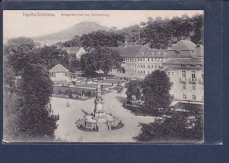 AK Teplitz-Schönau  Kriegerdenkmal mit Schlossberg 1920