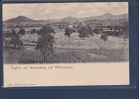 AK Teplitz mit Schlossberg und Millischauer 1920