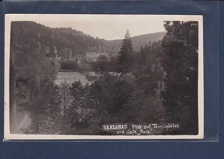 Photo AK Karlsbad Blick auf Tennisplätze und Cafe Park 1928