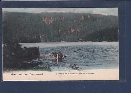AK Gruss aus dem Böhmerwald Gasthaus am Schwarzen See 1920