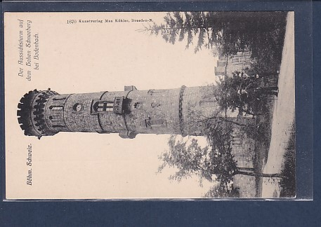 AK Böhm.Schweiz Der Aussichtsturm auf dem hohen Schneeberg bei Bodenbach 1920