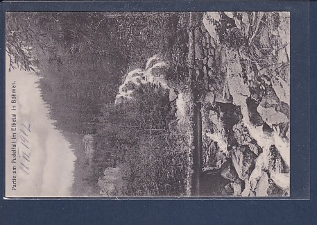 AK Partie am Pudelfall im Elbetal in Böhmen 1912