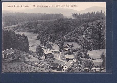 AK Sächs.-Böhm. Schweiz - Hinterdittersbach, Panorama vom Kirnitzschtal 1920