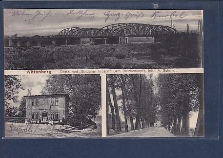 AK Wittenberg - Restaurant Goldener Frosch ( Am Brückenkopf) 3.Ansichten 1915 0