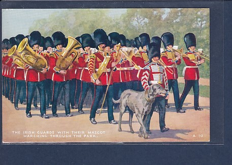 AK The Irish Guards with Their Mascot Marching Through The Park 1920 0