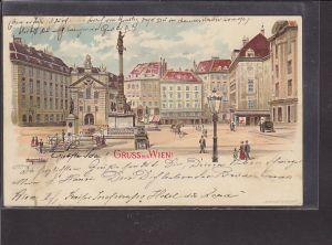 AK Litho Gruss aus Wien Am Hof 1899
