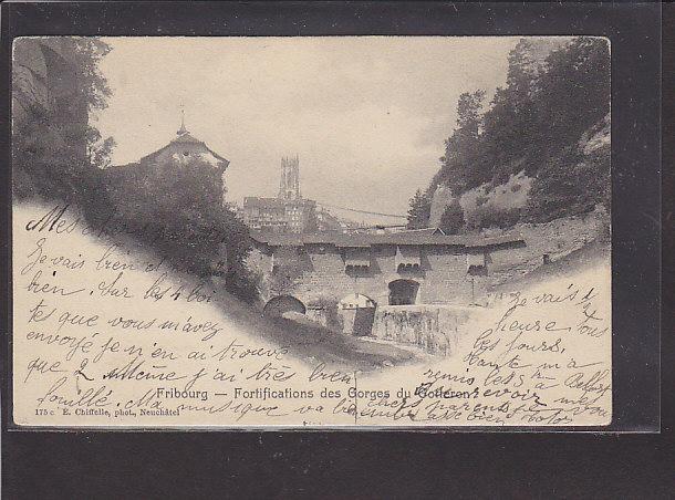 AK Fribourg - Fortifications des Gorges du Gotteron 1907