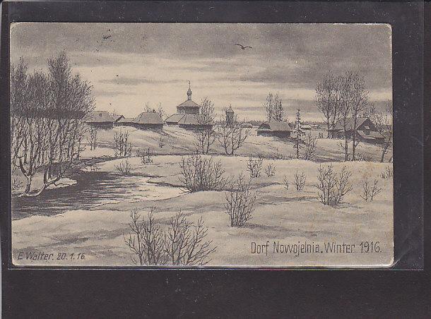 AK Dorf Nowojelnia Winter 1916