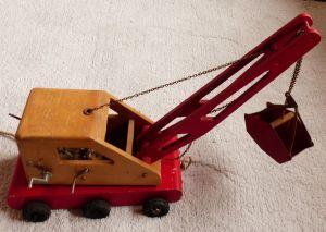 Bagger Holz Vintage Antiquität Spielzeug