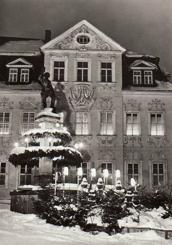 Ansichtskarte Schneeberg (Erzgebirge)  Bergmannsbrunnen zur Weihnachtszeit
