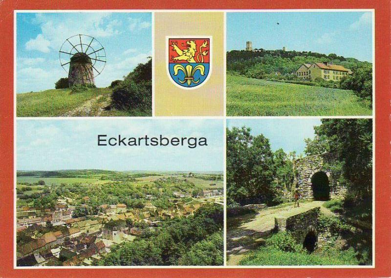 Ansichtskarte Eckartsberga /  Mühle mit Windrad POS mit Blick zur Eckartsburg Übersicht Eingang zur Eckartsburg