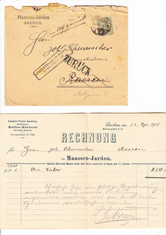 Brief Nach Belgien Frankieren : Aachen brief mit rg nach raeren belgien dort von