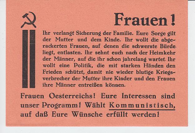 KPÖ-Flugblatt, für kriegsmüde Frauen 1946