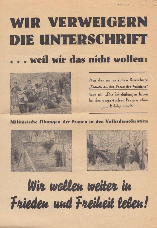 Pazifistisch-feministisches Flugblatt, Österreich 1857. Selten!
