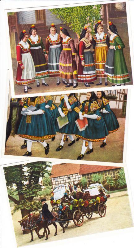 3 farbenfrohe Vorkriegs-Trachten-AK Schwalm. Beste Erhaltung
