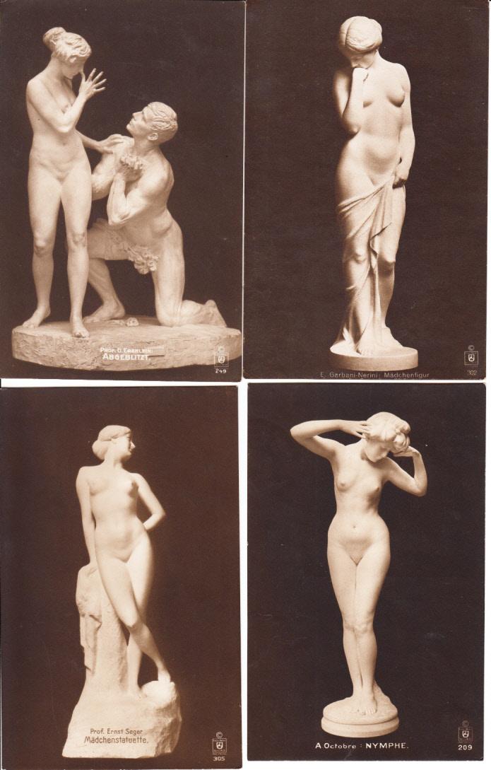 16 verschiedene erotische/Nudistische Skulpturen-AK, aus ähnlichden, nicht gleichen Serien, aber alle 1918 von gleicher Frau an Liebhaber. Texte!! Zusammengelassen 16 AK