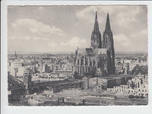 Wanderkarte 1952 Köln - Berlin - Paris - Darmstadt, Bildseitig Ruinen von Köln, schon etwas außergewöhnlich