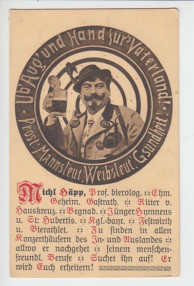 Total originelle AK im Stil einer Schützenscheibe von u.a. Oktoberfestsänger Michael Häpp