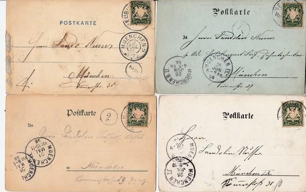 Neuburg/Donau, 4 AK, 3 x Gruß aus, alle 1898-1900, 2 x geringe ...
