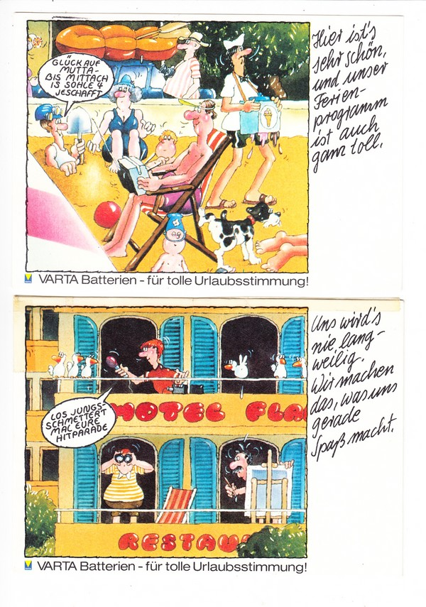 4 originelle VARTA-Werbe-Karten für Batterien, gelaufen und ungelaufen