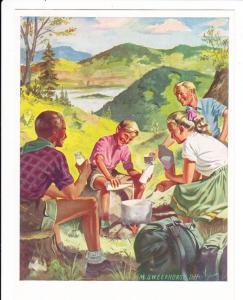 Milch, color Werbe AK, wohl frühe 50er Jahre, graphisch eher noch 30er Jahre