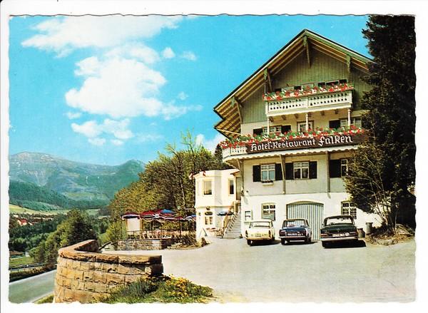 Hotel Falken, Oberstaufen ab dortselbst gel. 1969. Autos: Fiat 1800, DKW F 102, Mercedes 250