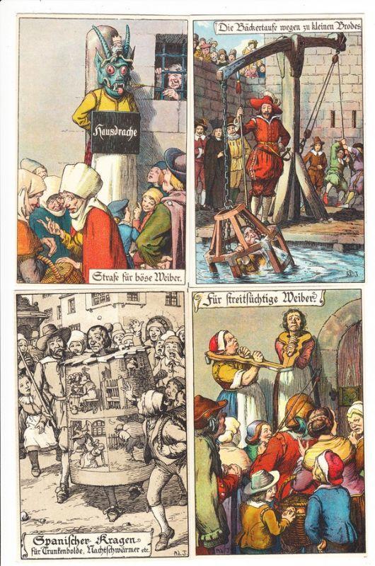 Justiz, 5er Serie, nicht kpl. Strafen im Mittelalter. Verlag Nister Nürnberg , aber Motive nicht ortsgebunden. Beste Erhaltung