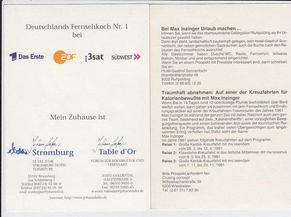 2 Fernsehköche, je mit O-U, mal mit, mal ohne Steuerproblem (Max Inzinger, Johann Lafer) 1