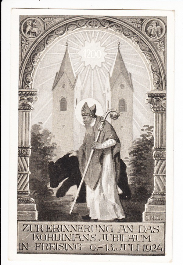 Freising, Festkarte 1200 Jahre Korbinian, SST!! 1924