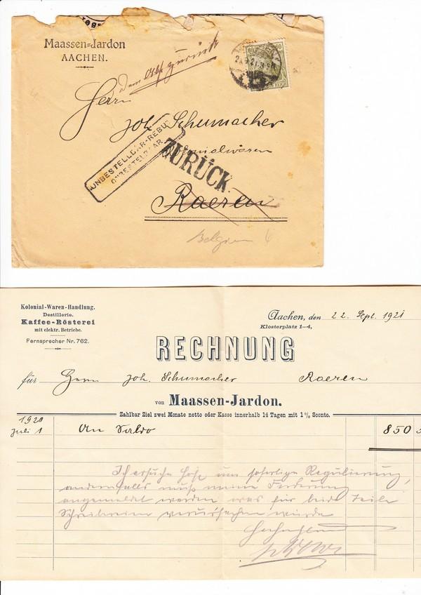 Aachen Brief Mit Rg Nach Raerenbelgien Dort Von Falschem