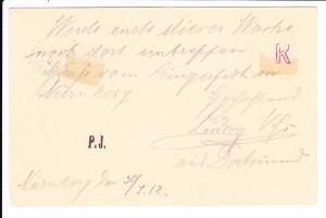 1912 Gewerbeschein GSK mit SST Arbeitersängerfest Nürnberg, Text von dort, Vorbesitzers Preisidee 60 ?, vielleicht etwas verwegen aber