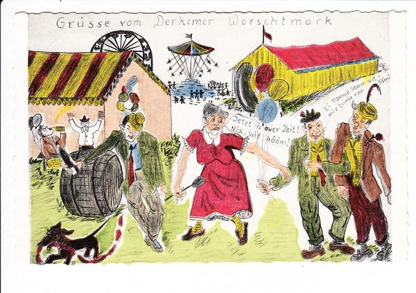 Bad Dürkheim, Derkemer Wortsmark, fröhliche Karte von dort, Postsonderstempel 1960