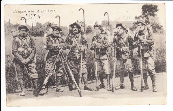 Französische Alpenjäger als deutsche Feldpost
