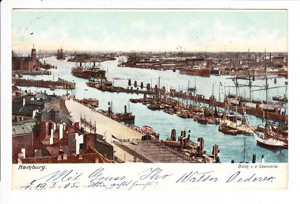 Hamburg, color-AK, Hafen, nicht selten, aber Soldatenpost nach Bayern, (Preussen - Bayern schon selten!)