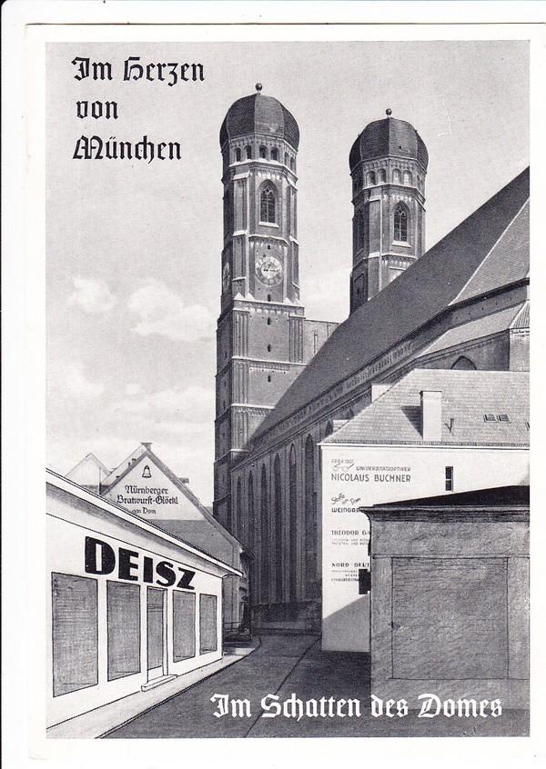Handarbeits-Domäne Deisz 2 Münchner Innenstadtadressen der Vor-Mode-Ketten-Zeit ca. 1930/35, plakative doppelseitige Werbung