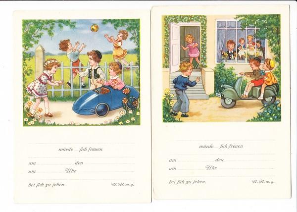 2 nette Kinder-Geburtstags-Einladungen, Seifenkiste und Motorroller