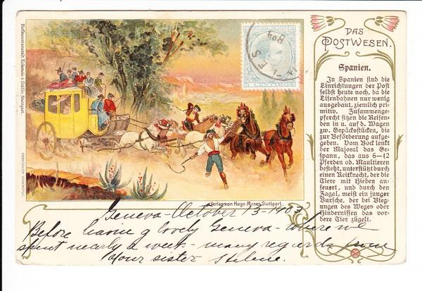 Postwesen Spanien ex internationaler Serie, gelaufen ab Schweiz, in die USA, dort Nachsendung quer durchs Land, also nicht alltäglich