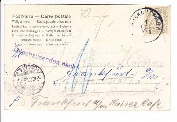 AK, Bildseitig bei uns maximal 2 ?, München - Darmstadt 2 Pf 1903, jederzeit zu wenig, weiter nach Frankfurt dann 10 Pf Nachporto, Erh. i.O. 1