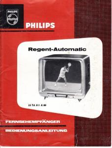 Philips Bedienungsanleitung für Regent-Fernseher dazu Antennenmontageanleitung