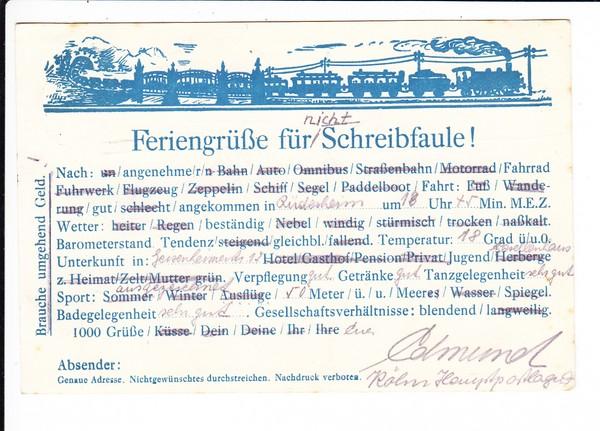 Die wirklich perfekte Karte für Schreibfaule, die bis in die heutige Zeit alles abdeckt! Natürlich aus Köln