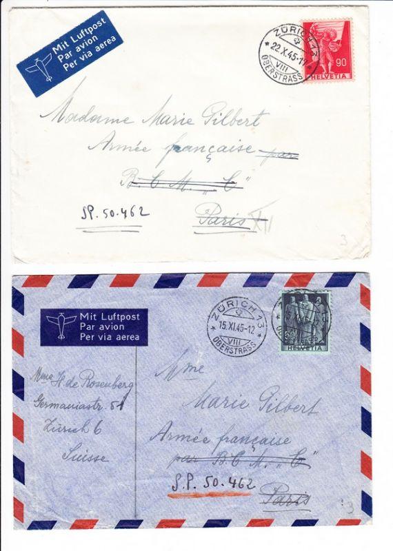 2 Briefe Schweiz Französische Armee 1 X Aerogramm 1 X Normal 50