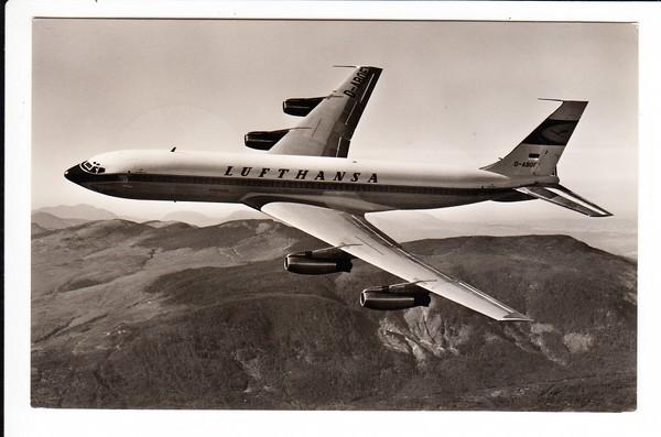 Boeing 707 Berlin - Japan und zurück, s/w Foto-AK. Netter Beleg