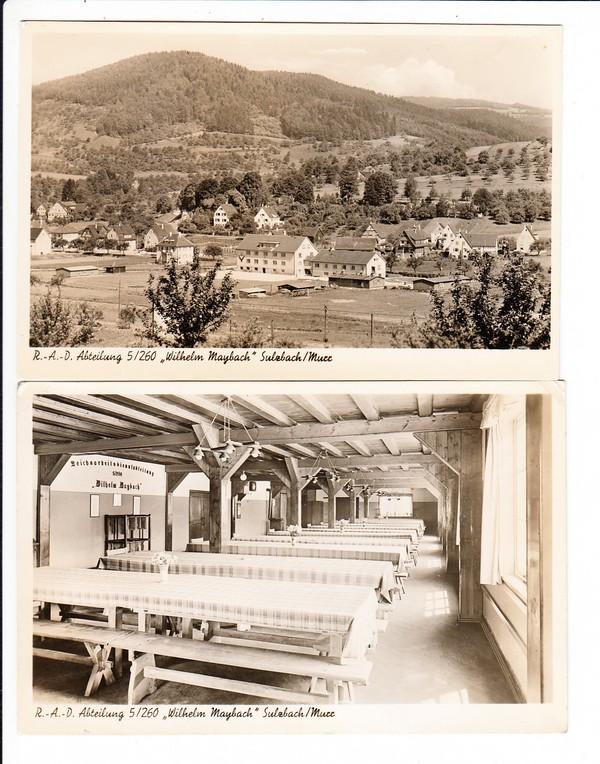 """sulzbad/murr, 2 ak gelaufen r.a.d. 5/260 """"wilhelm maybach"""" vorne"""